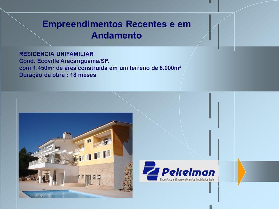 Empreendimentos Recentes e em Andamento RESIDÊNCIA UNIFAMILIAR Cond. Ecoville Aracariguama/SP. com 1.450m² de área construída em um terreno de 6.000m²