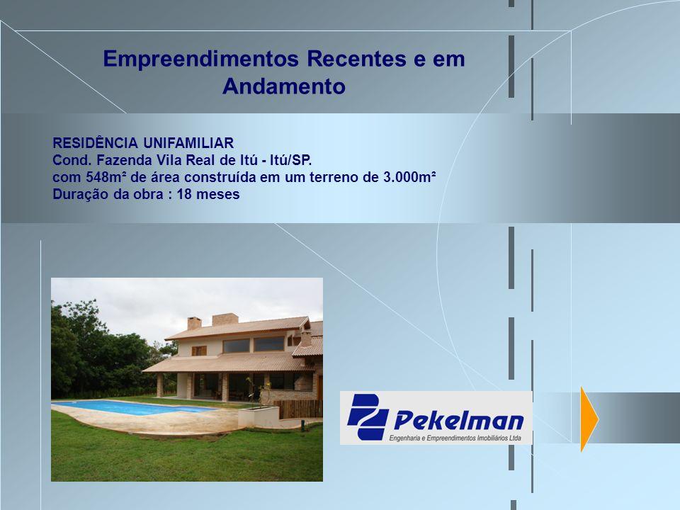 Empreendimentos Recentes e em Andamento RESIDÊNCIA UNIFAMILIAR Cond. Fazenda Vila Real de Itú - Itú/SP. com 548m² de área construída em um terreno de