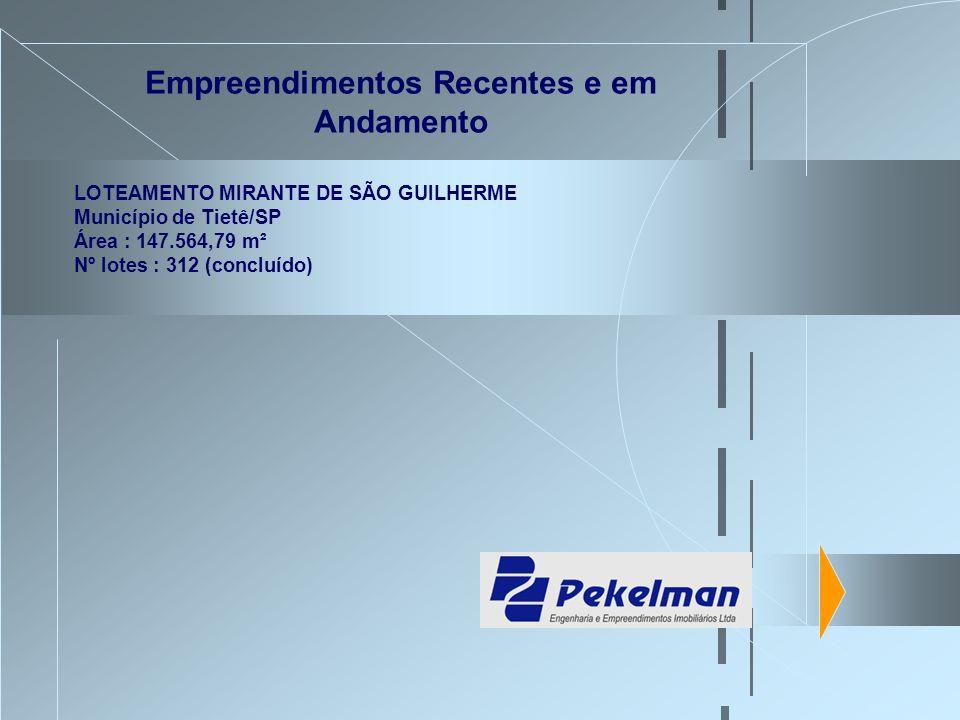Empreendimentos Recentes e em Andamento LOTEAMENTO MIRANTE DE SÃO GUILHERME Município de Tietê/SP Área : 147.564,79 m² Nº lotes : 312 (concluído)