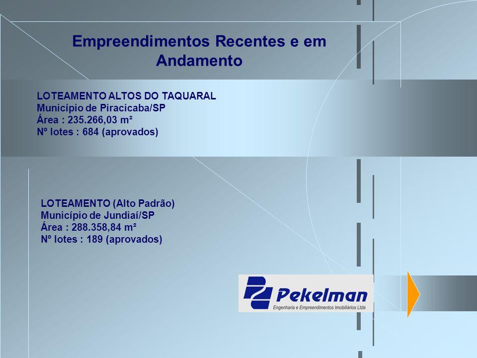 Empreendimentos Recentes e em Andamento LOTEAMENTO ALTOS DO TAQUARAL Município de Piracicaba/SP Área : 235.266,03 m² Nº lotes : 684 (aprovados) LOTEAM