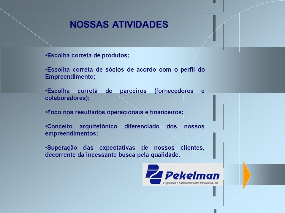 Escolha correta de produtos; Escolha correta de sócios de acordo com o perfil do Empreendimento; Escolha correta de parceiros (fornecedores e colabora