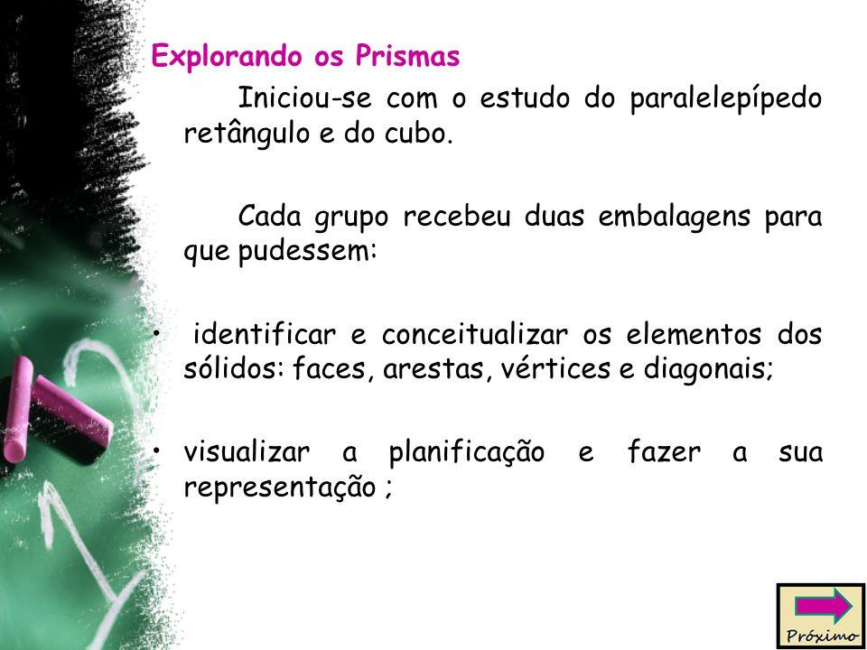 Explorando os Prismas Iniciou-se com o estudo do paralelepípedo retângulo e do cubo. Cada grupo recebeu duas embalagens para que pudessem: identificar