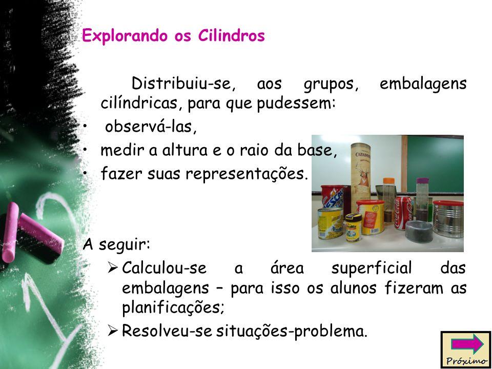 Explorando os Cilindros Distribuiu-se, aos grupos, embalagens cilíndricas, para que pudessem: observá-las, medir a altura e o raio da base, fazer suas representações.