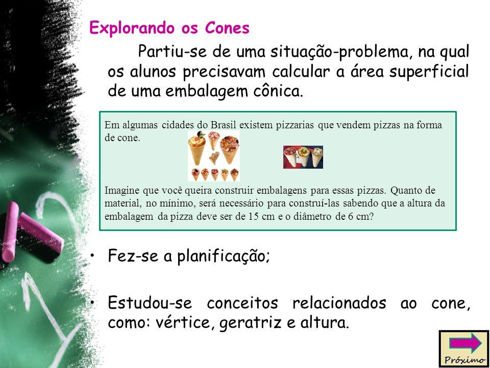 Explorando os Cones Partiu-se de uma situação-problema, na qual os alunos precisavam calcular a área superficial de uma embalagem cônica. Fez-se a pla