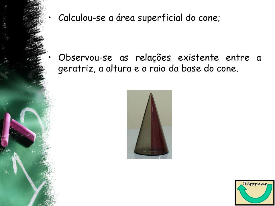 Calculou-se a área superficial do cone; Observou-se as relações existente entre a geratriz, a altura e o raio da base do cone.