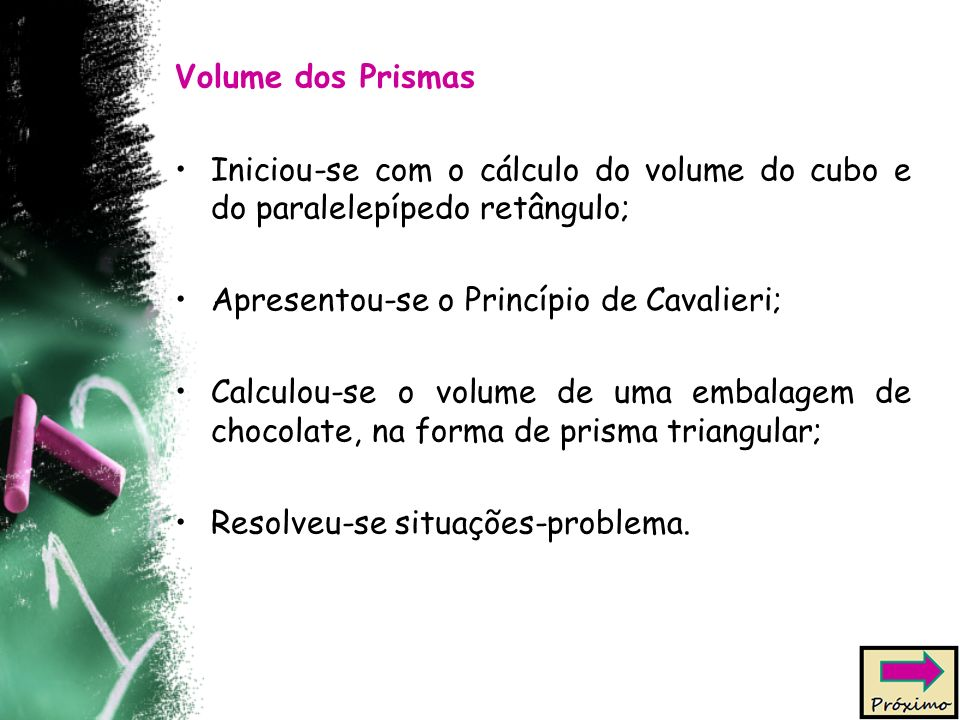 Volume dos Prismas Iniciou-se com o cálculo do volume do cubo e do paralelepípedo retângulo; Apresentou-se o Princípio de Cavalieri; Calculou-se o volume de uma embalagem de chocolate, na forma de prisma triangular; Resolveu-se situações-problema.