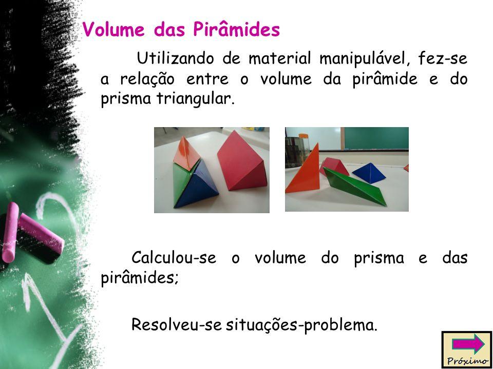 Volume das Pirâmides Utilizando de material manipulável, fez-se a relação entre o volume da pirâmide e do prisma triangular. Calculou-se o volume do p
