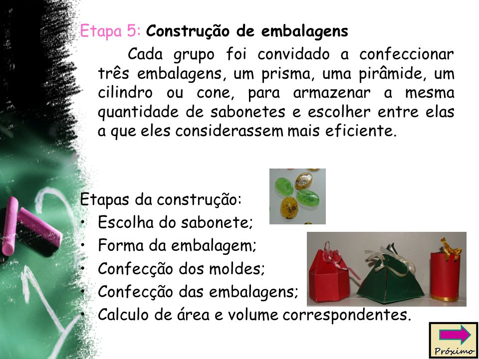 Etapa 5: Construção de embalagens Cada grupo foi convidado a confeccionar três embalagens, um prisma, uma pirâmide, um cilindro ou cone, para armazenar a mesma quantidade de sabonetes e escolher entre elas a que eles considerassem mais eficiente.