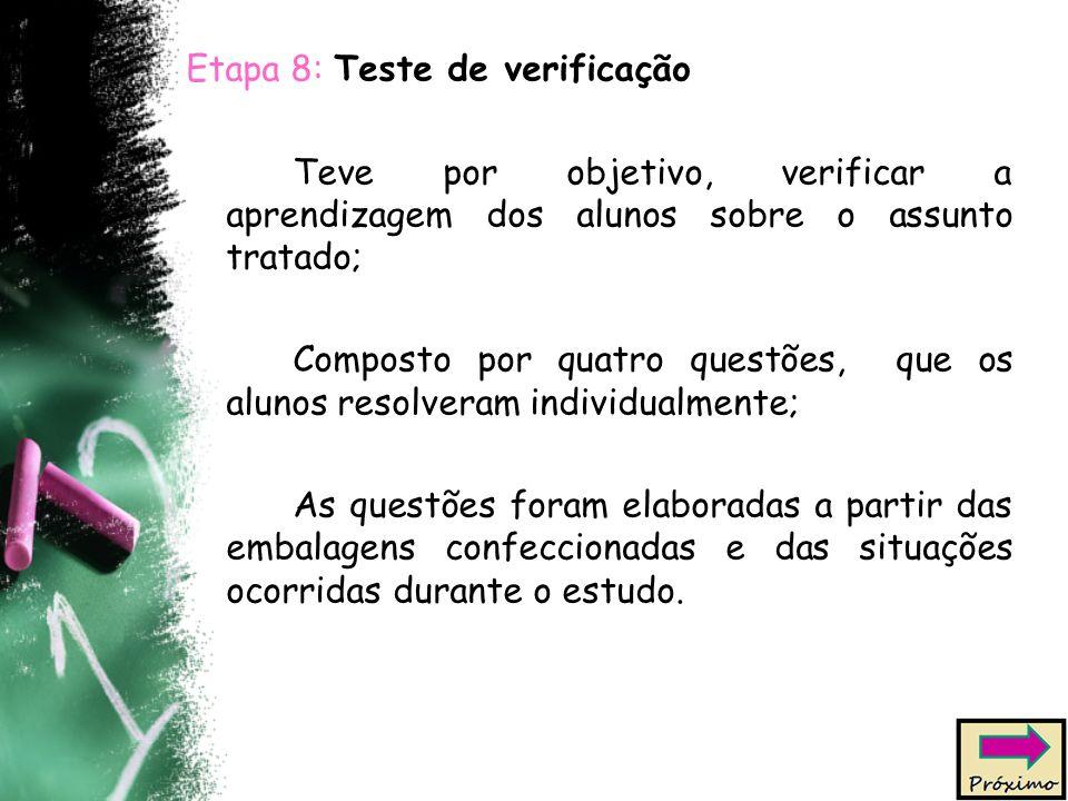 Etapa 8: Teste de verificação Teve por objetivo, verificar a aprendizagem dos alunos sobre o assunto tratado; Composto por quatro questões, que os alu