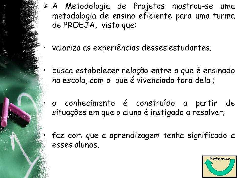 A Metodologia de Projetos mostrou-se uma metodologia de ensino eficiente para uma turma de PROEJA, visto que: valoriza as experiências desses estudant
