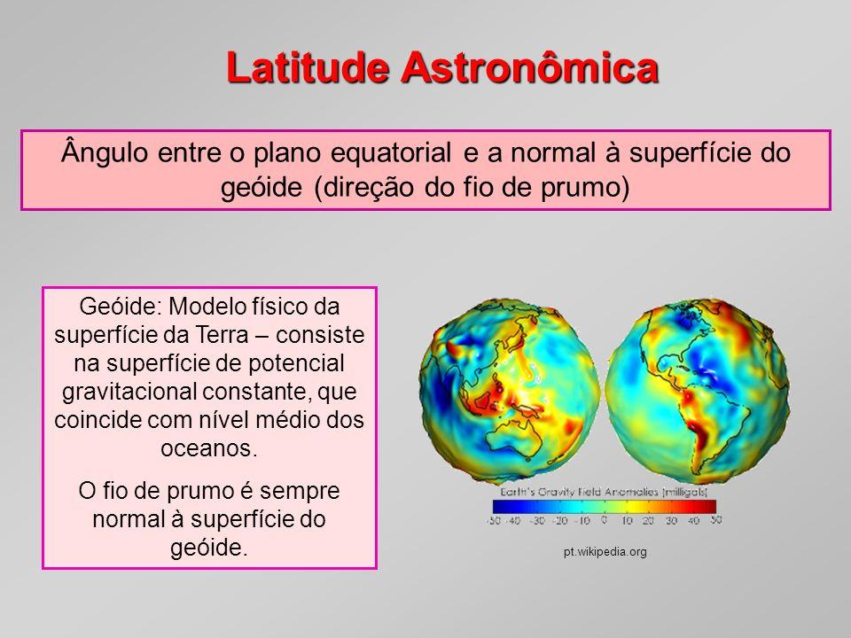 Latitude Astronômica Geóide: Modelo físico da superfície da Terra – consiste na superfície de potencial gravitacional constante, que coincide com níve