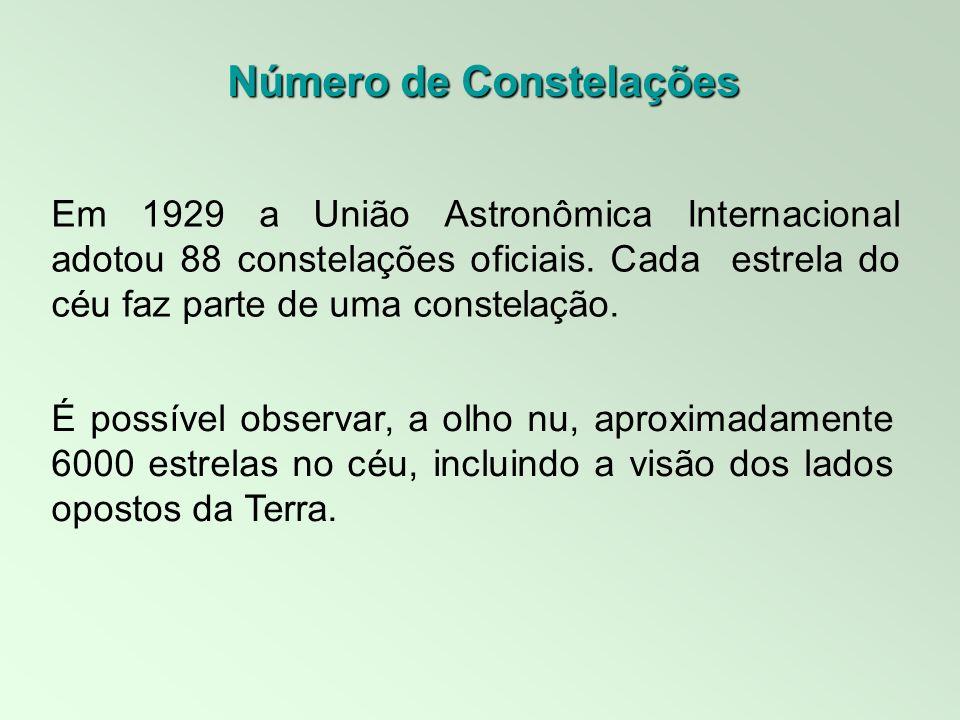 Em 1929 a União Astronômica Internacional adotou 88 constelações oficiais. Cada estrela do céu faz parte de uma constelação. Número de Constelações É