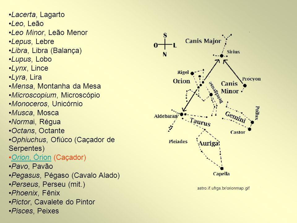 Piscis Austrinus, Peixe Austral Puppis, Popa (do Navio) Pyxis, Bússola Reticulum, Retículo Sagitta, Flecha Sagittarius, Sagitário Scorpius, Escorpião Sculptor, Escultor Scutum, Escudo Serpens, Serpente Sextans, Sextante Taurus, Touro Telescopium, Telescópio Triangulum, Triângulo Triangulum Australe, Triângulo Austral Tucana, Tucano Ursa Major, Ursa maior Ursa Minor, Ursa Menor Vela, Vela (do Navio) Virgo, Virgem Volans, Peixe Voador Vulpecula, Raposa my.execpc.com