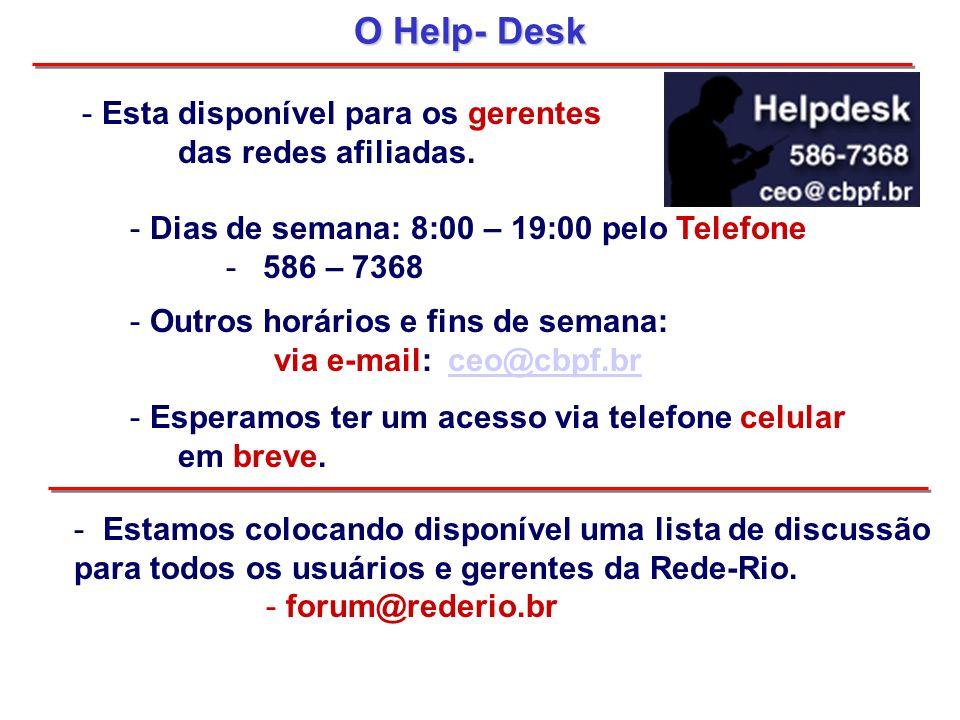 O Help- Desk - Esta disponível para os gerentes das redes afiliadas. - Dias de semana: 8:00 – 19:00 pelo Telefone - 586 – 7368 - Outros horários e fin