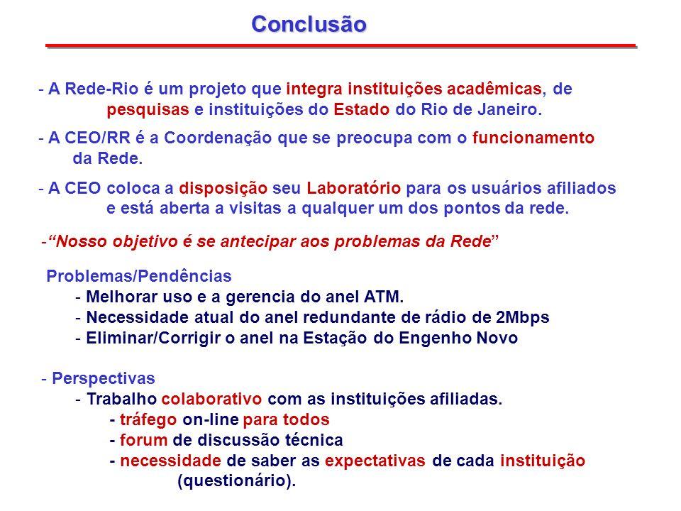 Conclusão - A Rede-Rio é um projeto que integra instituições acadêmicas, de pesquisas e instituições do Estado do Rio de Janeiro. - A CEO/RR é a Coord
