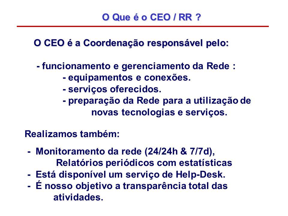 O CEO é a Coordenação responsável pelo: - funcionamento e gerenciamento da Rede : - equipamentos e conexões. - serviços oferecidos. - preparação da Re
