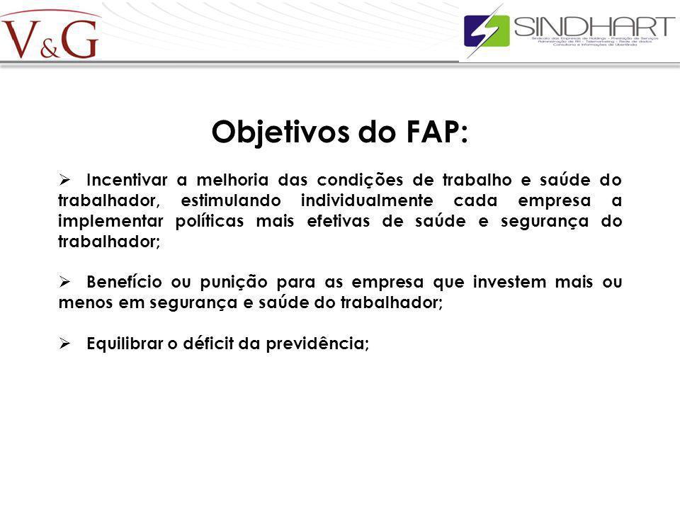 Objetivos do FAP: Incentivar a melhoria das condições de trabalho e saúde do trabalhador, estimulando individualmente cada empresa a implementar polít