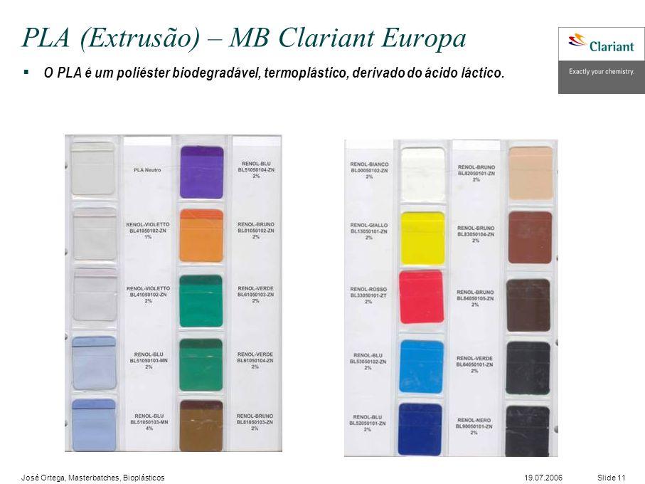 José Ortega, Masterbatches, Bioplásticos Slide 1119.07.2006 PLA (Extrusão) – MB Clariant Europa O PLA é um poliéster biodegradável, termoplástico, derivado do ácido láctico.