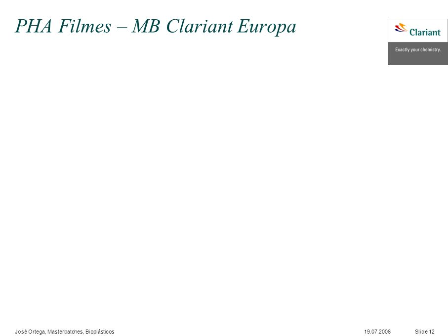 José Ortega, Masterbatches, Bioplásticos Slide 1219.07.2006 PHA Filmes – MB Clariant Europa