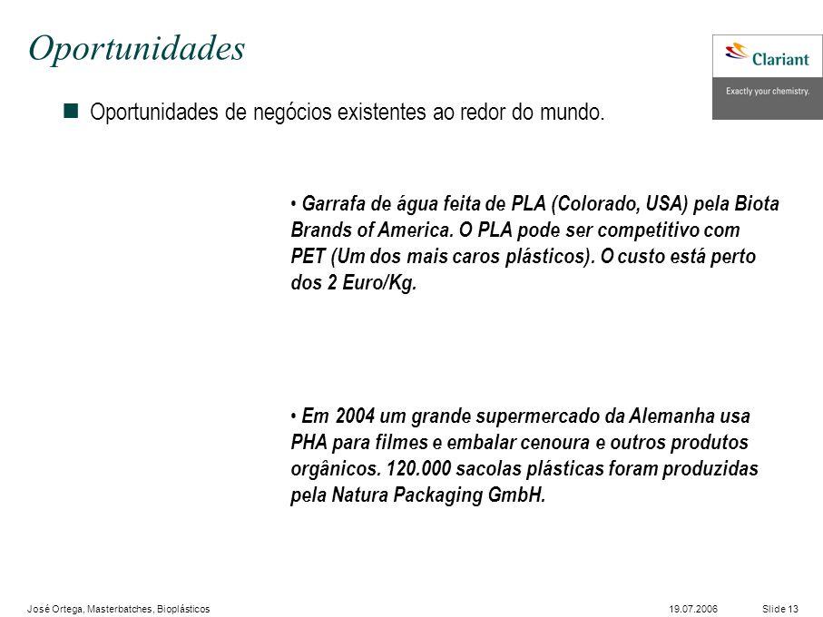 José Ortega, Masterbatches, Bioplásticos Slide 1319.07.2006 Oportunidades nOportunidades de negócios existentes ao redor do mundo.