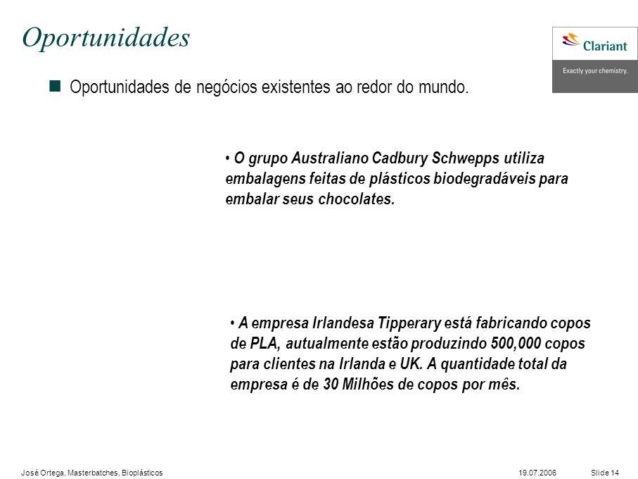 José Ortega, Masterbatches, Bioplásticos Slide 1419.07.2006 Oportunidades nOportunidades de negócios existentes ao redor do mundo.