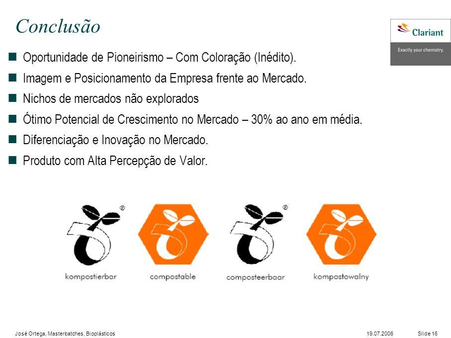 José Ortega, Masterbatches, Bioplásticos Slide 1619.07.2006 Conclusão nOportunidade de Pioneirismo – Com Coloração (Inédito).