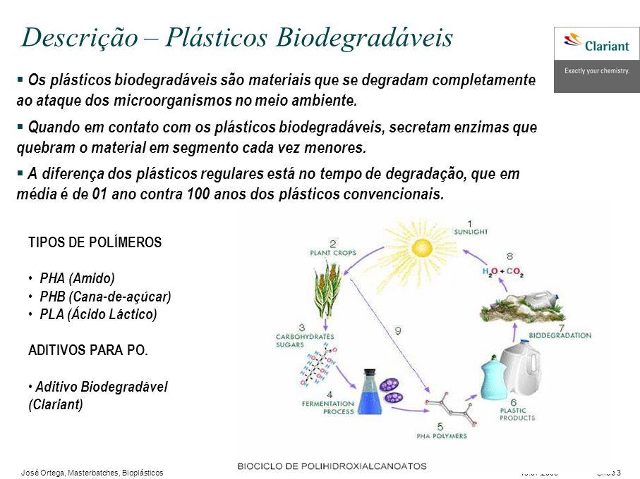 José Ortega, Masterbatches, Bioplásticos Slide 319.07.2006 Descrição – Plásticos Biodegradáveis Os plásticos biodegradáveis são materiais que se degradam completamente ao ataque dos microorganismos no meio ambiente.