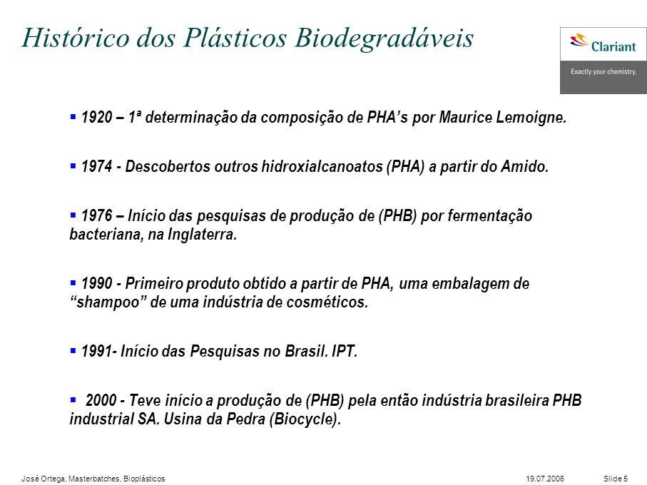 José Ortega, Masterbatches, Bioplásticos Slide 519.07.2006 1920 – 1ª determinação da composição de PHAs por Maurice Lemoigne.