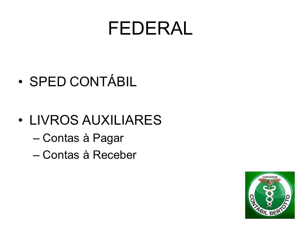 FEDERAL SPED CONTÁBIL LIVROS AUXILIARES –Contas à Pagar –Contas à Receber
