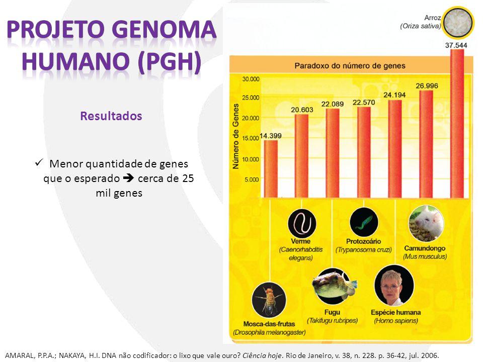 Resultados AMARAL, P.P.A.; NAKAYA, H.I. DNA não codificador: o lixo que vale ouro? Ciência hoje. Rio de Janeiro, v. 38, n. 228. p. 36-42, jul. 2006. M