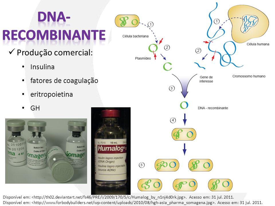 Produção comercial: Insulina fatores de coagulação eritropoietina GH Disponível em:. Acesso em: 31 jul. 2011.