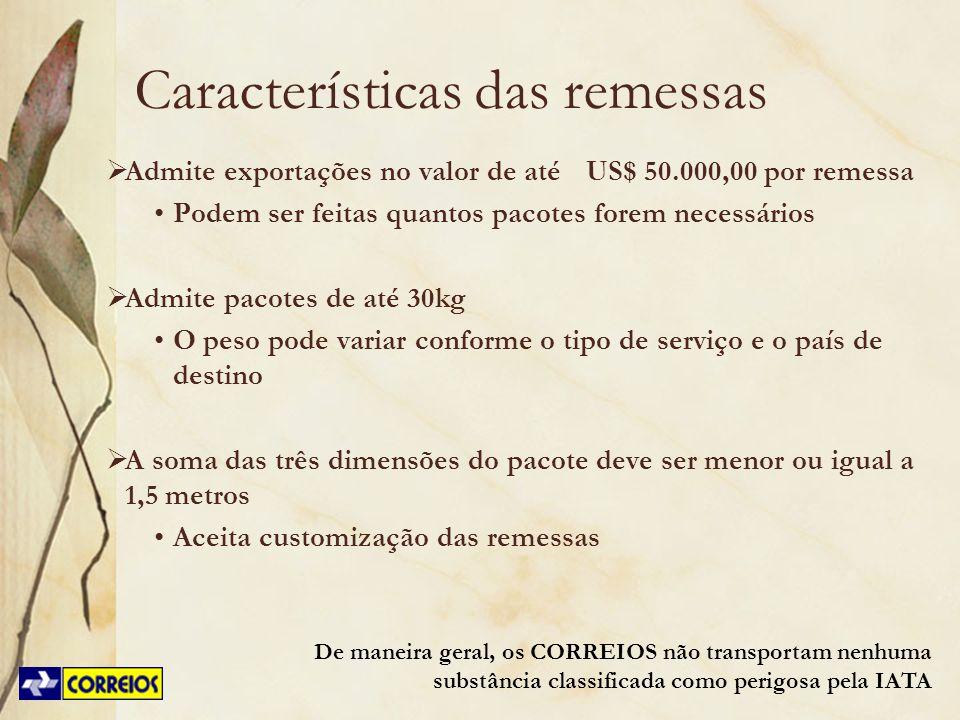 Características das remessas Admite exportações no valor de atéUS$ 50.000,00 por remessa Podem ser feitas quantos pacotes forem necessários Admite pac