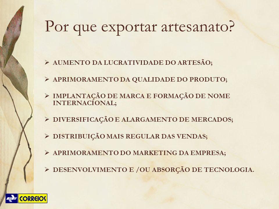 Por que exportar artesanato? AUMENTO DA LUCRATIVIDADE DO ARTESÃO; APRIMORAMENTO DA QUALIDADE DO PRODUTO; IMPLANTAÇÃO DE MARCA E FORMAÇÃO DE NOME INTER