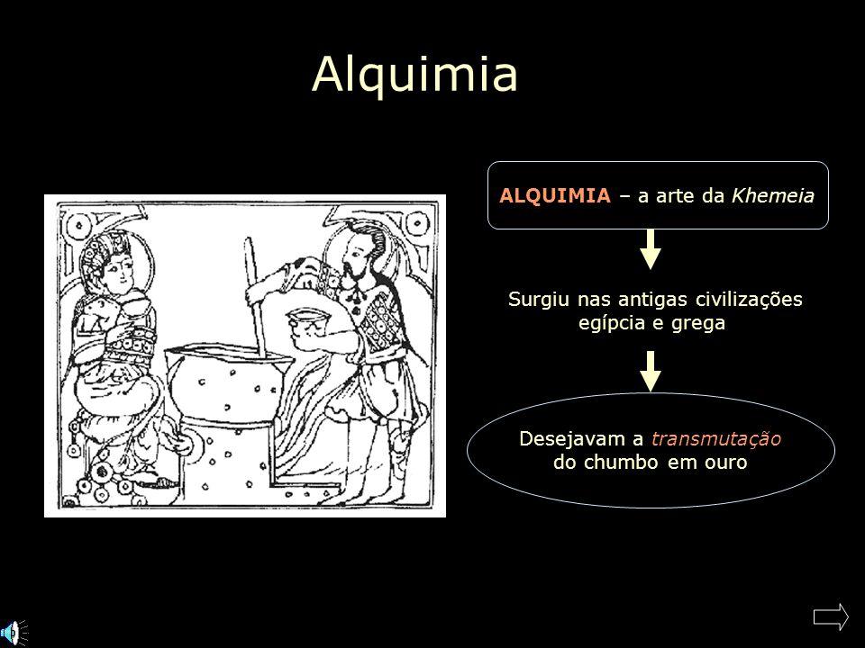 Alquimia Khemeia – na civilização árabe ganha o artigo Al (a) Khemeia (Quimia) e então surge a palavra ALQUIMIA Alquimista árabe famoso: Geber (Jabir Ibn-Hayyan, 800 d.C.) – queria fazer ouro a partir de mercúrio e enxofre.