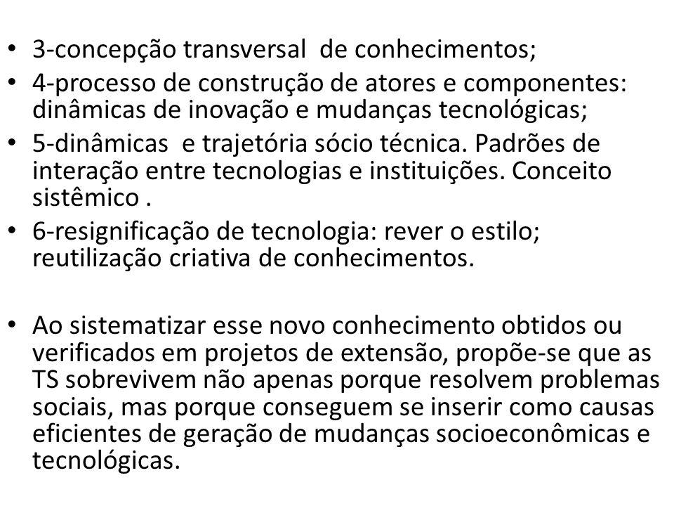 3-concepção transversal de conhecimentos; 4-processo de construção de atores e componentes: dinâmicas de inovação e mudanças tecnológicas; 5-dinâmicas e trajetória sócio técnica.