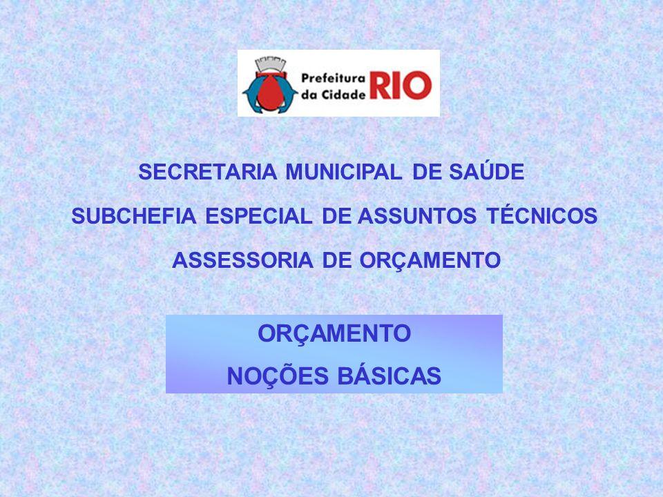 ORÇAMENTO NOÇÕES BÁSICAS SECRETARIA MUNICIPAL DE SAÚDE SUBCHEFIA ESPECIAL DE ASSUNTOS TÉCNICOS ASSESSORIA DE ORÇAMENTO