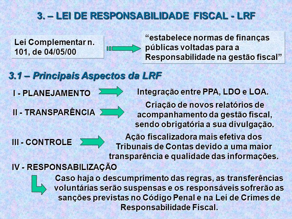 3. – LEI DE RESPONSABILIDADE FISCAL - LRF Lei Complementar n. 101, de 04/05/00 estabelece normas de finanças públicas voltadas para a Responsabilidade