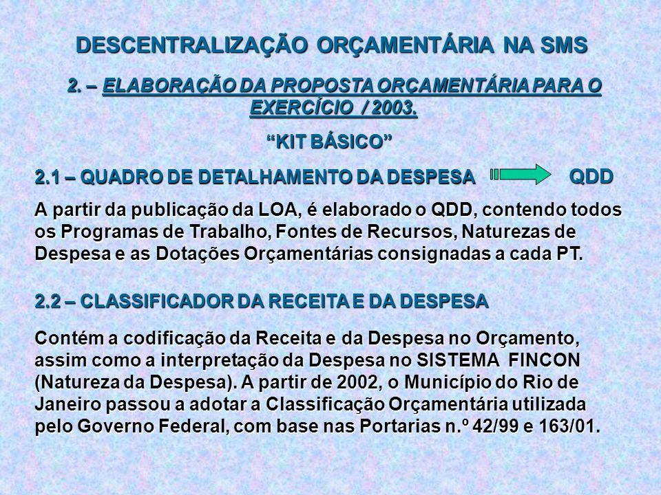 DESCENTRALIZAÇÃO ORÇAMENTÁRIA NA SMS 2. – ELABORAÇÃO DA PROPOSTA ORÇAMENTÁRIA PARA O EXERCÍCIO / 2003. KIT BÁSICO 2.1 – QUADRO DE DETALHAMENTO DA DESP