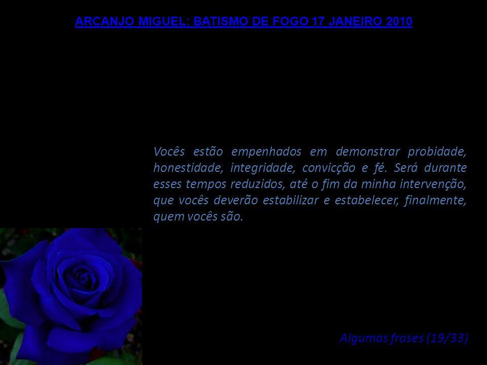 ARCANJO MIGUEL: BATISMO DE FOGO 17 JANEIRO 2010 Abstenham-se de tudo que puder prejudicar este Fogo, de tudo que puder perturbar este Amor e esta Verd