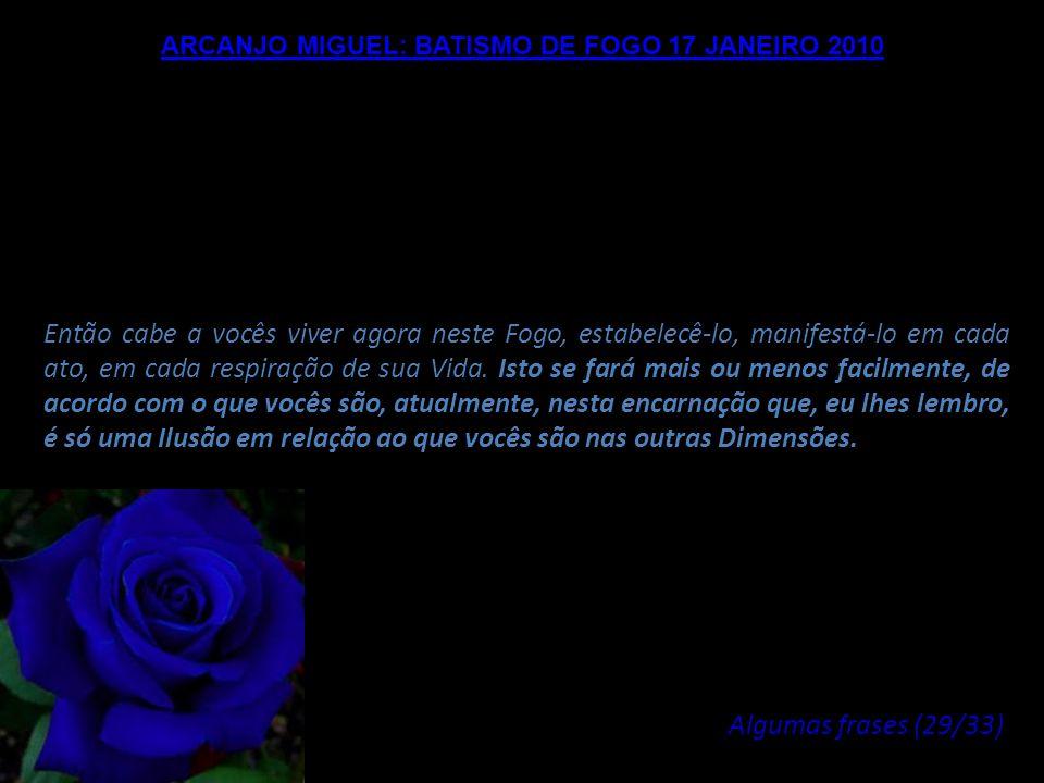 ARCANJO MIGUEL: BATISMO DE FOGO 17 JANEIRO 2010 Nenhuma força poderá fazer oposição ao Fogo do Amor, exceto as resistências de sua personalidade e os