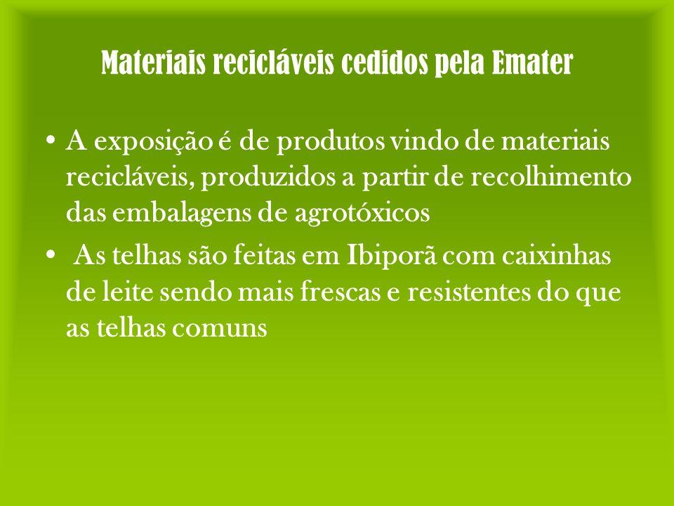 Materiais recicláveis cedidos pela Emater A exposição é de produtos vindo de materiais recicláveis, produzidos a partir de recolhimento das embalagens
