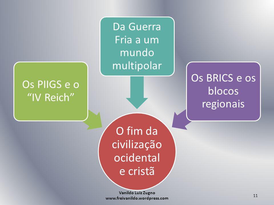 O fim da civilização ocidental e cristã Os PIIGS e o IV Reich Da Guerra Fria a um mundo multipolar Os BRICS e os blocos regionais Vanildo Luiz Zugno w