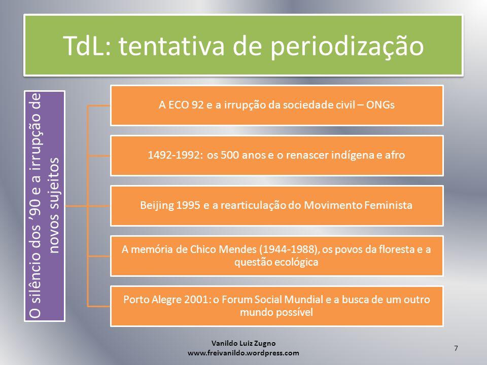 TdL: tentativa de periodização O silêncio dos 90 e a irrupção de novos sujeitos A ECO 92 e a irrupção da sociedade civil – ONGs 1492-1992: os 500 anos