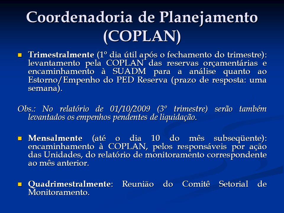 Coordenadoria de Planejamento (COPLAN) Trimestralmente (1º dia útil após o fechamento do trimestre): levantamento pela COPLAN das reservas orçamentárias e encaminhamento à SUADM para a análise quanto ao Estorno/Empenho do PED Reserva (prazo de resposta: uma semana).