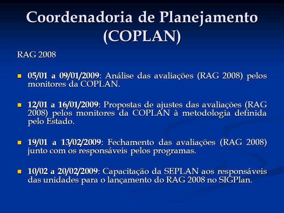 Coordenadoria de Planejamento (COPLAN) RAG 2008 05/01 a 09/01/2009 : Análise das avaliações (RAG 2008) pelos monitores da COPLAN.