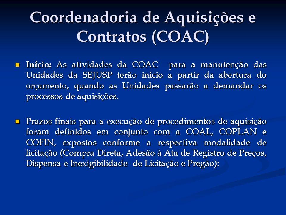 Coordenadoria de Aquisições e Contratos (COAC) Início: As atividades da COAC para a manutenção das Unidades da SEJUSP terão início a partir da abertura do orçamento, quando as Unidades passarão a demandar os processos de aquisições.