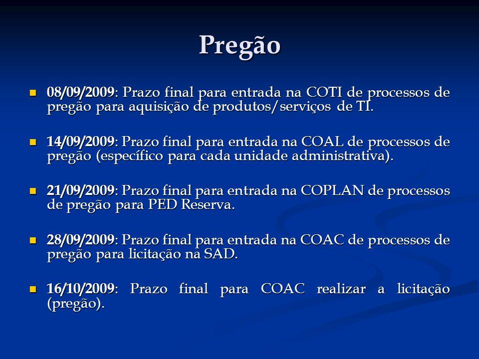Pregão 08/09/2009 : Prazo final para entrada na COTI de processos de pregão para aquisição de produtos/serviços de TI.