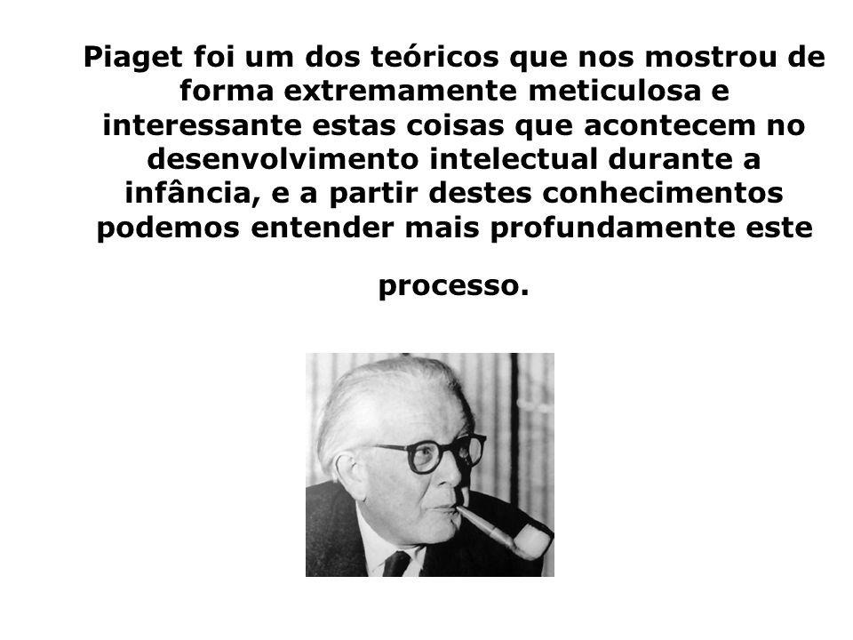 Piaget foi um dos teóricos que nos mostrou de forma extremamente meticulosa e interessante estas coisas que acontecem no desenvolvimento intelectual d