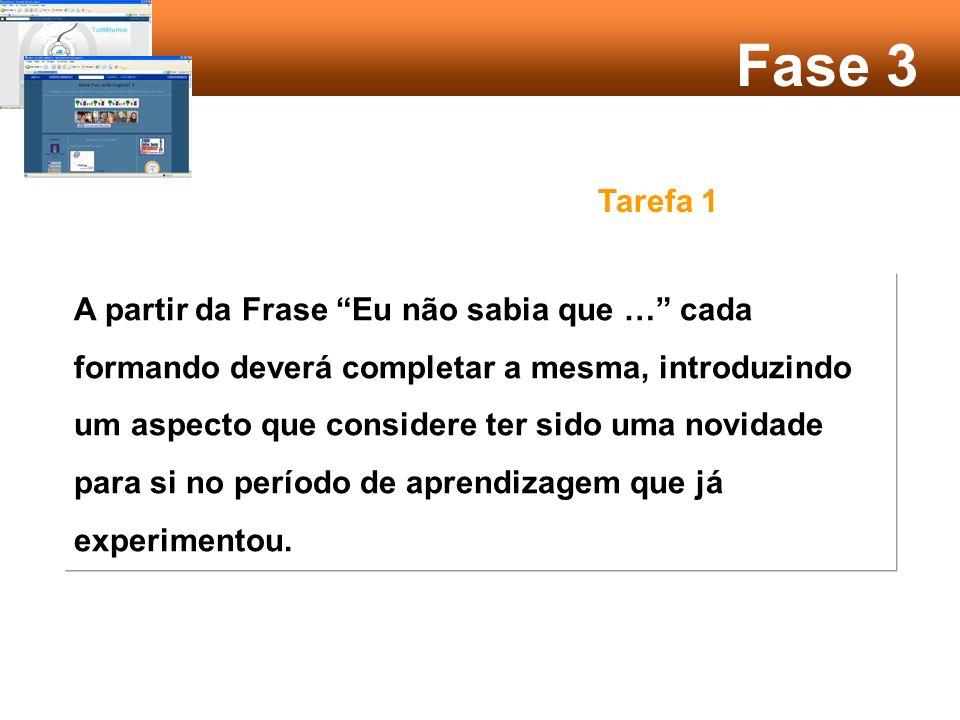 Fase 3 Objectivo: Intercâmbio e colaboração Promover a actividade de reflexão sobre os temas já debatidos.