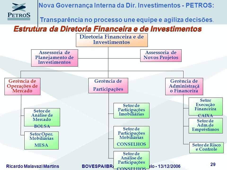 Ricardo Malavazi MartinsBOVESPA/IBRADEMP – São Paulo - 13/12/2006 29 Assessoria de Planejamento de Investimentos Assessoria de Novos Projetos Diretori
